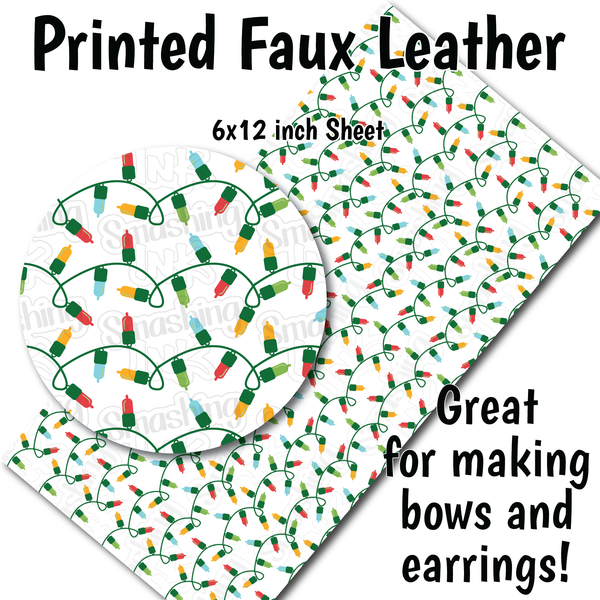 Christmas Lights K - Faux Leather Sheet (SHIPS IN 3 BUS DAYS)