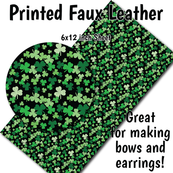 Shamrock Pattern Small Scale K - Faux Leather Sheet (SHIPS IN 3 BUS DAYS)