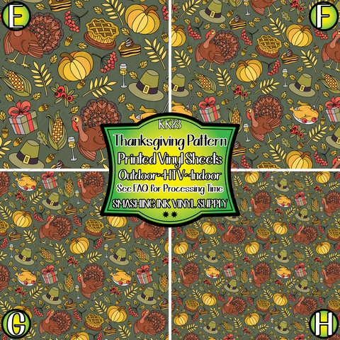 Thanksgiving Pattern  - Pattern Vinyl (READY IN 3 BUS DAYS)