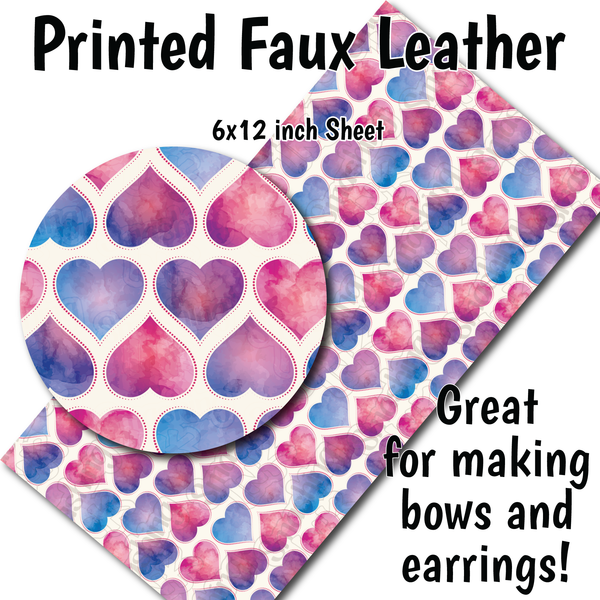 Watercolor Hearts - Faux Leather Sheet (SHIPS IN 3 BUS DAYS)