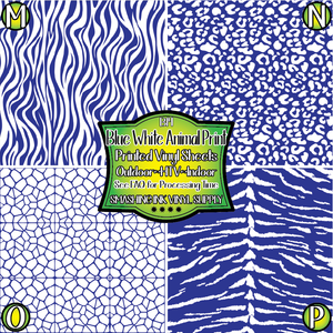 Blue White Animal Print - Pattern Vinyl (READY IN 3 BUS DAYS)