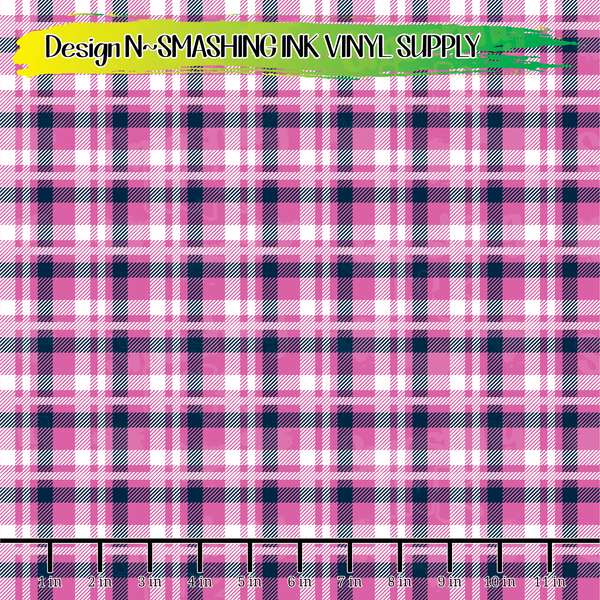 Navy Pink Plaid - Pattern Vinyl (READY IN 3 BUS DAYS)