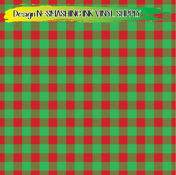 Christmas Buffalo Plaid- Pattern Vinyl (READY IN 3 BUS DAYS)