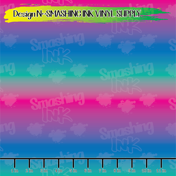 Pink Purple Teal Ombre - Pattern Vinyl (SHIPS IN 3 BUS DAYS)