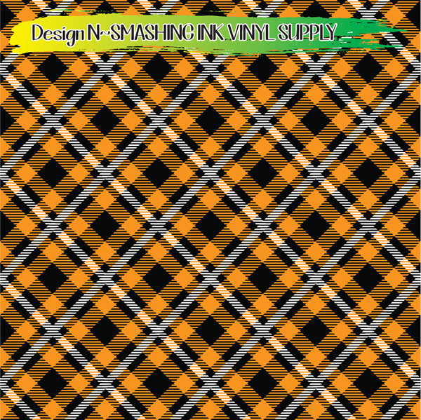 Orange White Plaid - Pattern Vinyl (READY IN 3 BUS DAYS)