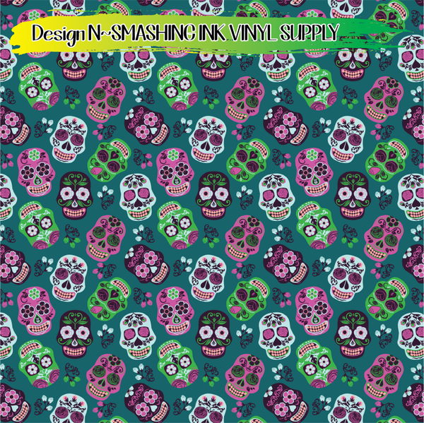 Sugar Skulls - Pattern Vinyl (SHIPS IN 3 BUS DAYS)