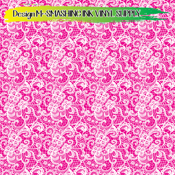 Pink White Lace - Pattern Vinyl (SHIPS IN 3 BUS DAYS)