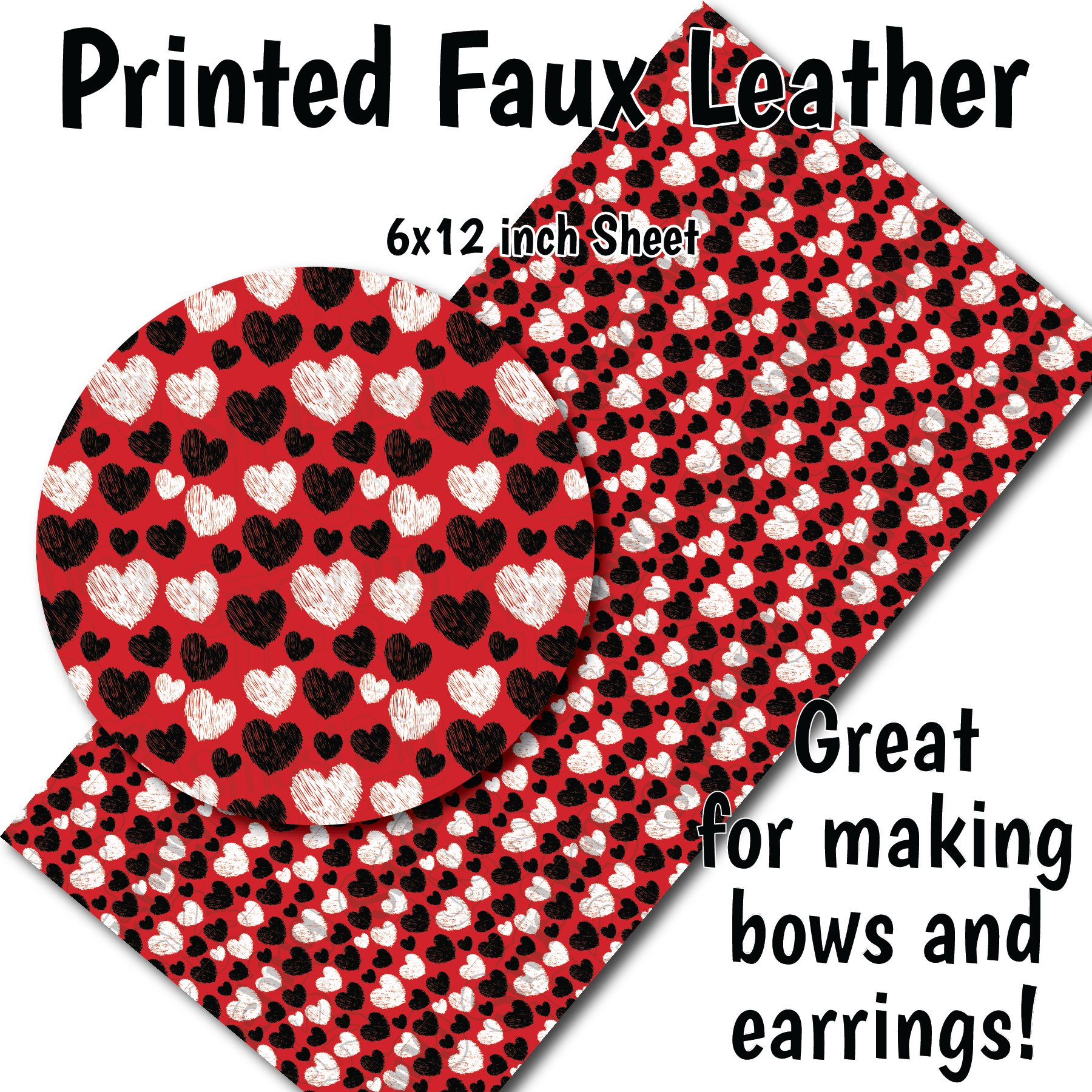 Red Hearts Small Scale K - Faux Leather Sheet (SHIPS IN 3 BUS DAYS)
