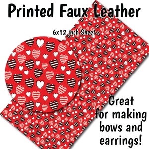 Red Hearts Small Scale L - Faux Leather Sheet (SHIPS IN 3 BUS DAYS)