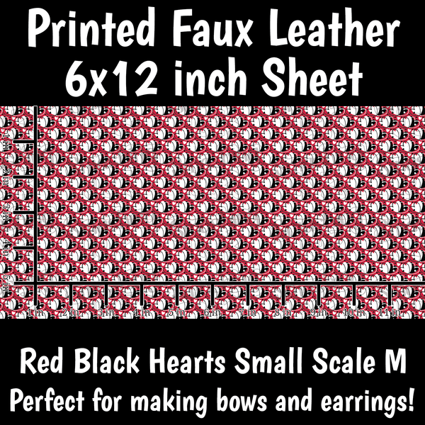 Red Black Hearts Small Scale M - Faux Leather Sheet (SHIPS IN 3 BUS DAYS)