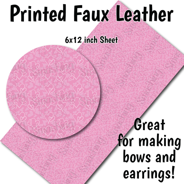 Pink Hearts Pattern R - Faux Leather Sheet (SHIPS IN 3 BUS DAYS)