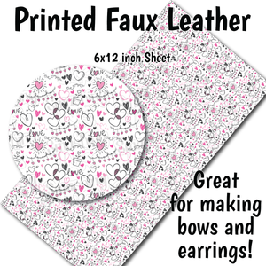 Love & Hearts Pattern A - Faux Leather Sheet (SHIPS IN 3 BUS DAYS)