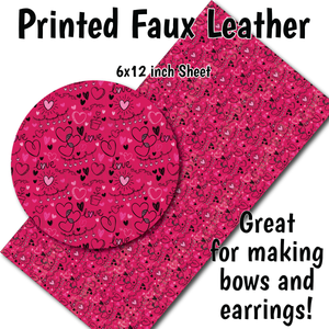 Love & Hearts Pattern C - Faux Leather Sheet (SHIPS IN 3 BUS DAYS)