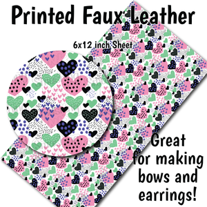 Hearts and Dots - Faux Leather Sheet (MTO-3 BUS DAYS)