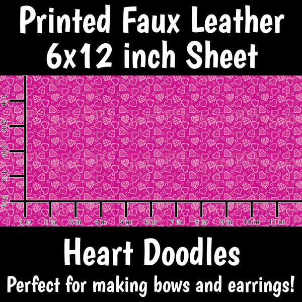 Pink Patchwork Hearts - Faux Leather Sheet (SHIPS IN 3 BUS DAYS)