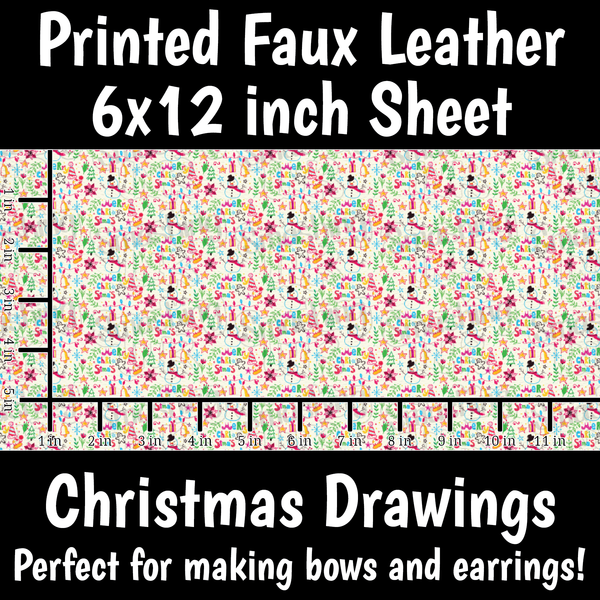 Christmas Drawings - Faux Leather Sheet (SHIPS IN 3 BUS DAYS)