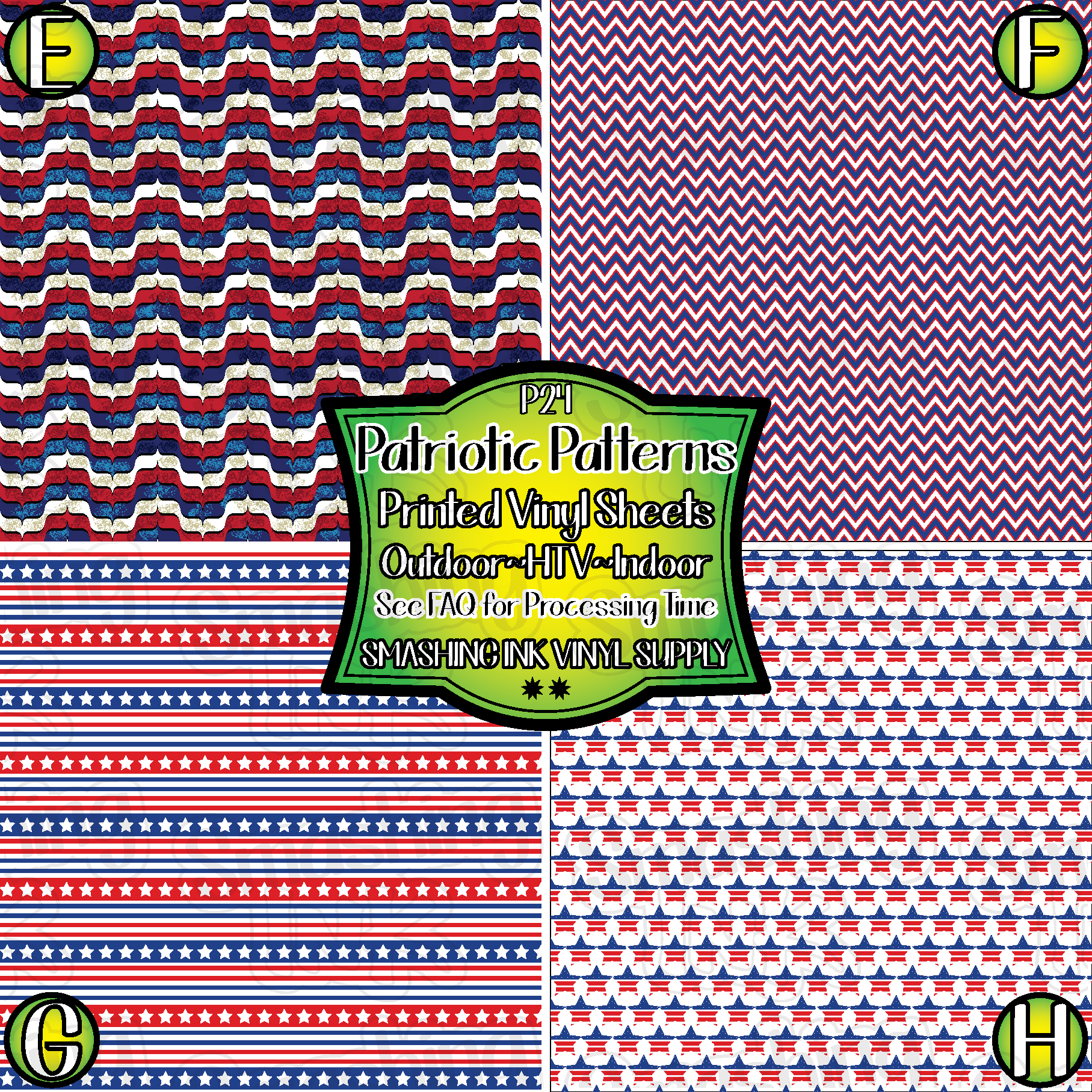 Small Scale Patriotic Patterns - Pattern Vinyl (READY IN 3 BUS DAYS)