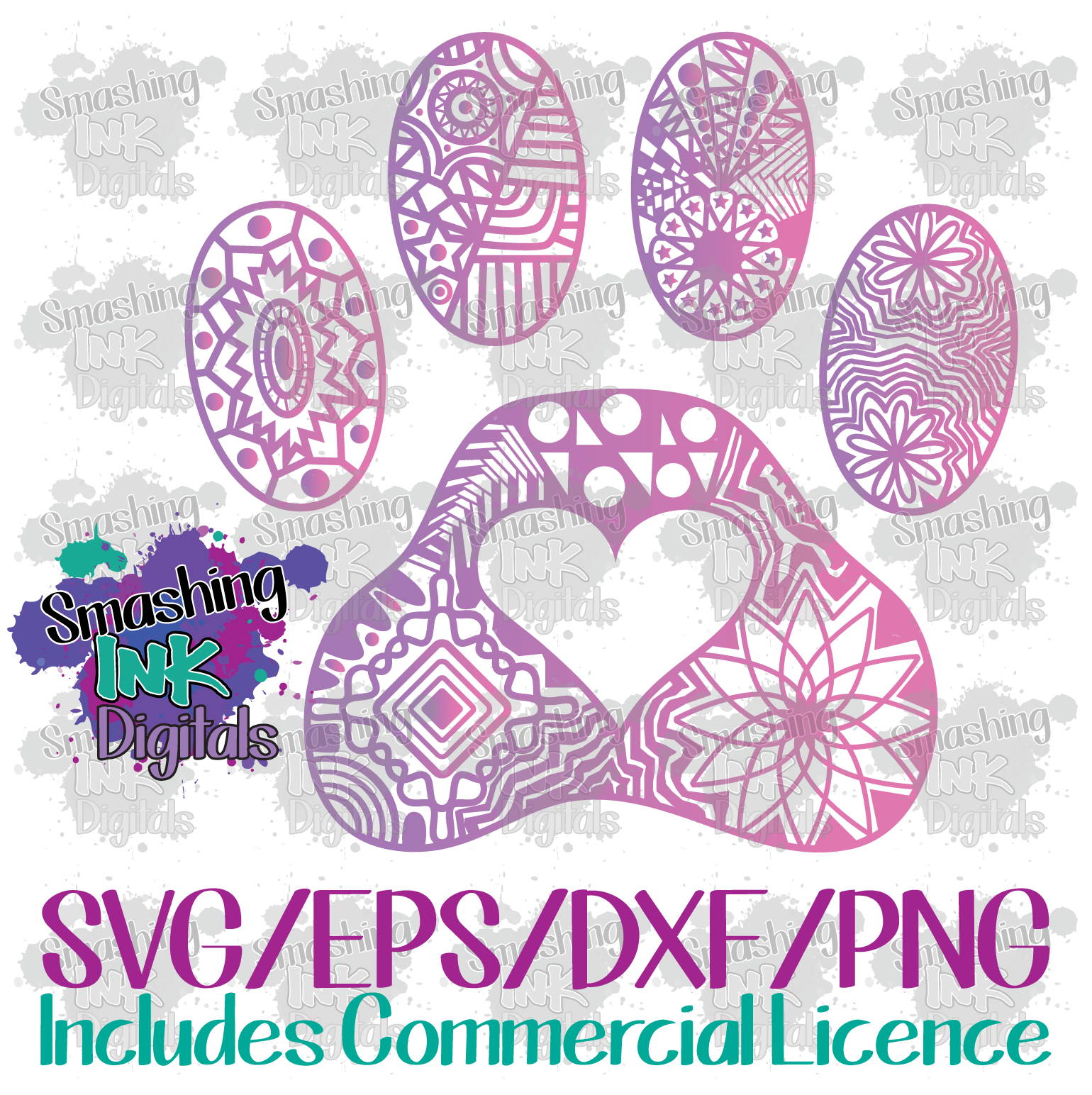 Paw Print Mandala - SVG Cutting File