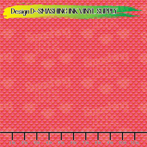 Red Mermaid Scales - Pattern Vinyl (READY IN 3 BUS DAYS)