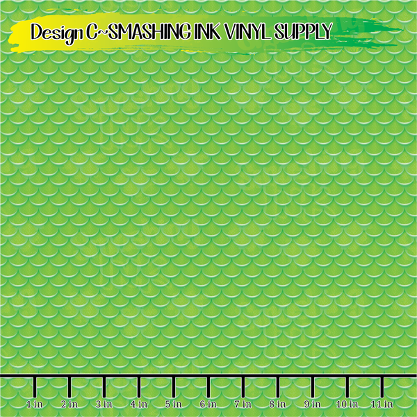 Green Mermaid Scales - Pattern Vinyl (READY IN 3 BUS DAYS)