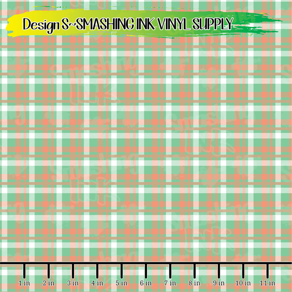 Teal Coral Plaid - Pattern Vinyl (SHIPS IN 3 BUS DAYS)