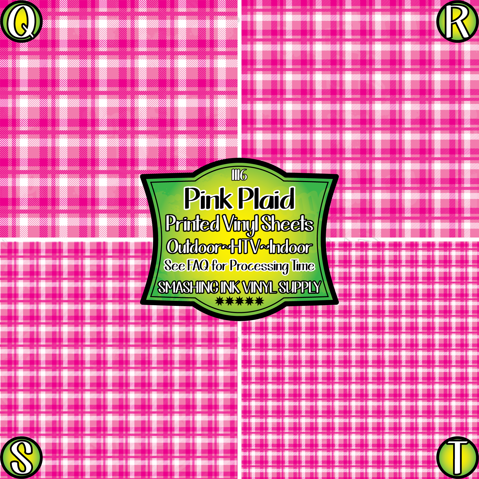 Pink Plaid - Pattern Vinyl (READY IN 3 BUS DAYS)