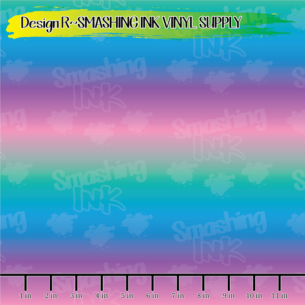 Teal Pink Purple Ombre - Pattern Vinyl (SHIPS IN 3 BUS DAYS)