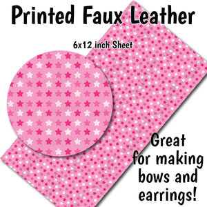 Small Scale Pink Stars - Faux Leather Sheet (SHIPS IN 3 BUS DAYS)
