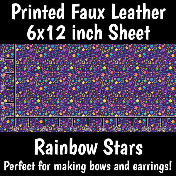 Rainbow Stars - Faux Leather Sheet (SHIPS IN 3 BUS DAYS)