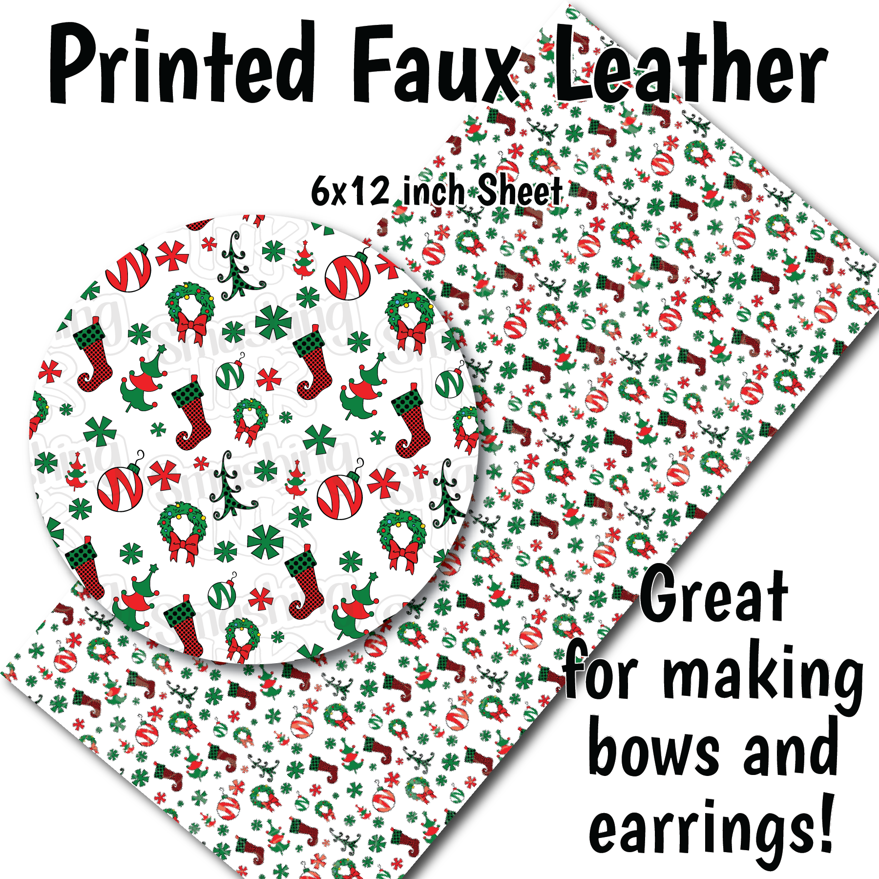Whimsical Christmas - Faux Leather Sheet (SHIPS IN 3 BUS DAYS)