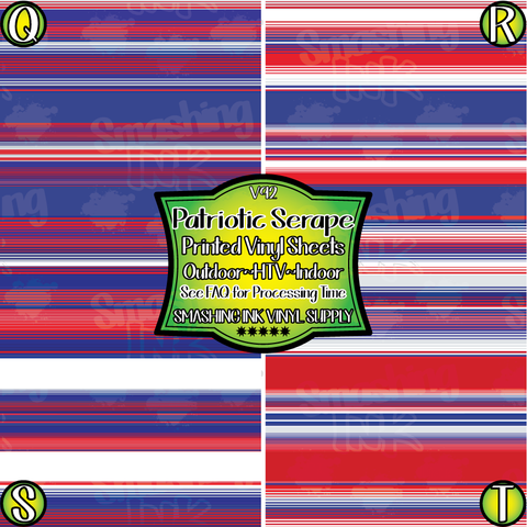 Patriotic Serape - Patterned Vinyl Done Printed