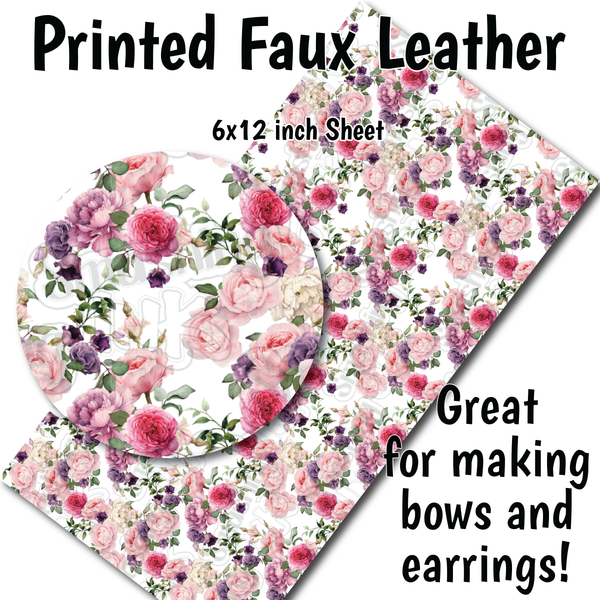 Vintage Flowers B - Faux Leather Sheet (SHIPS IN 3 BUS DAYS)