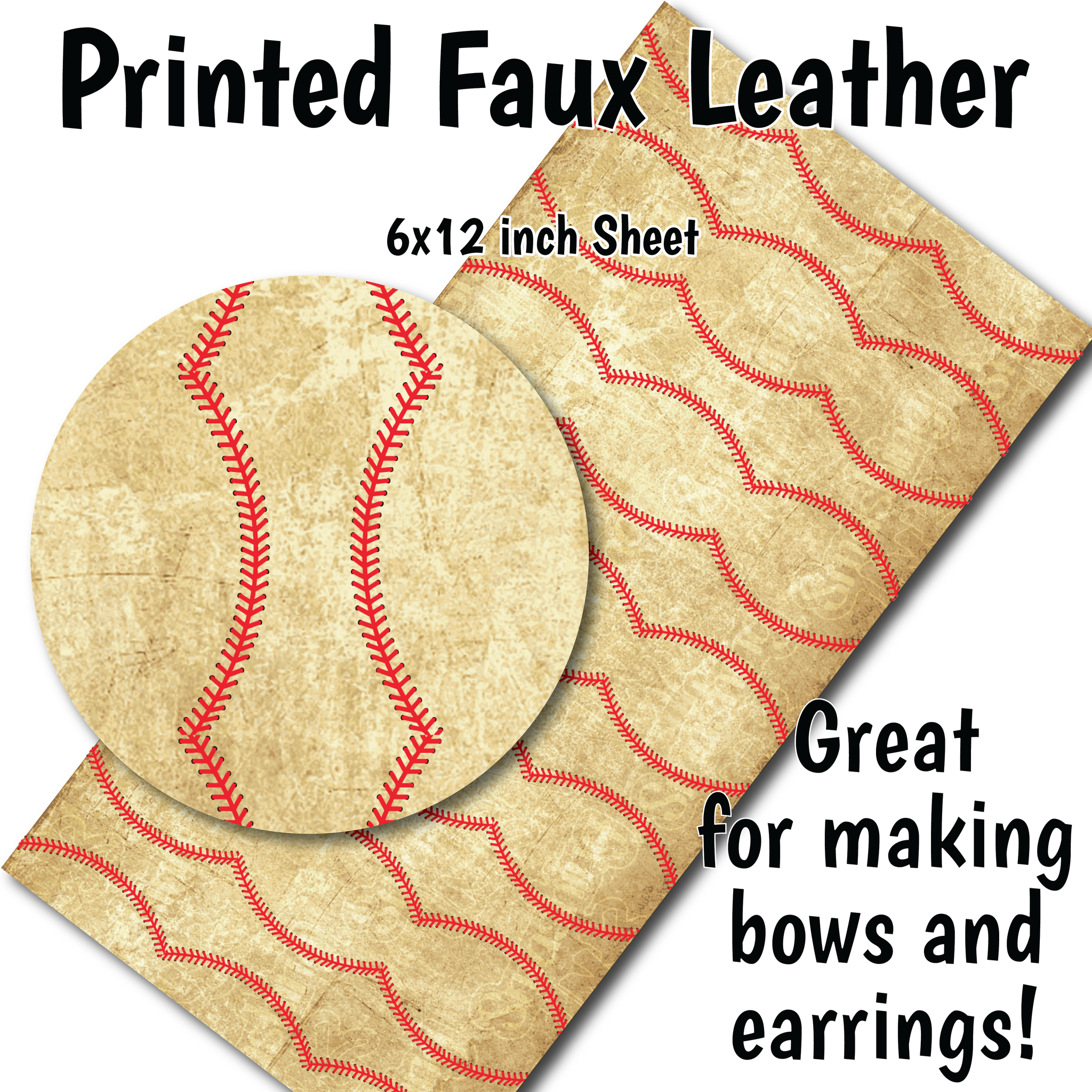 Dirty Baseball - Faux Leather Sheet (SHIPS IN 3 BUS DAYS)