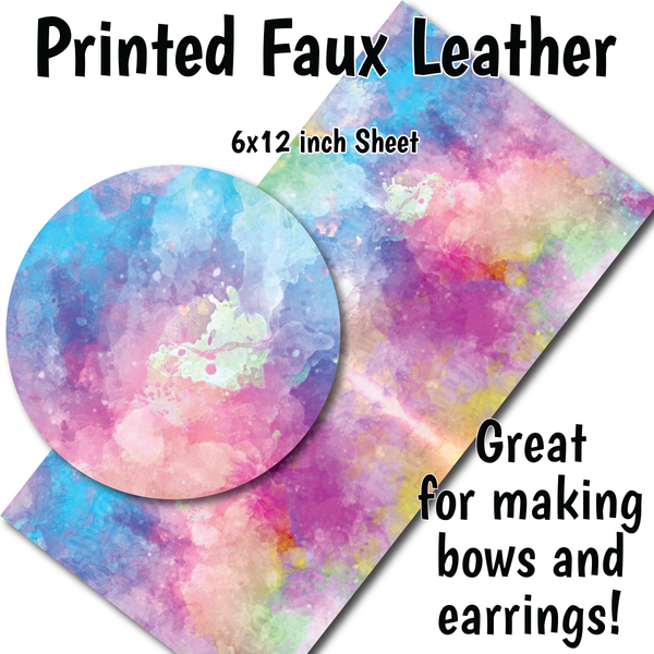 Colorful Watercolor - Faux Leather Sheets (SHIPS IN 3 BUS DAYS)
