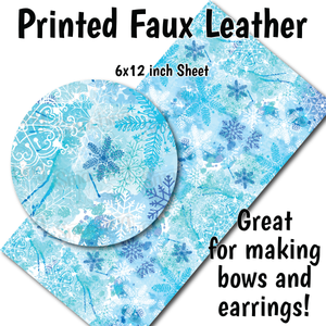 Watercolor Snowflakes - Faux Leather Sheet (SHIPS IN 3 BUS DAYS)