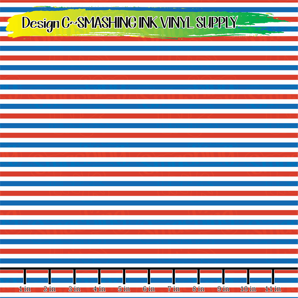 Red White Blue Stripes - Pattern Vinyl (READY IN 3 BUS DAYS)
