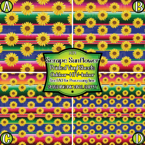 Sunflower Serape - Pattern Vinyl (SHIPS IN 3 BUS DAYS)