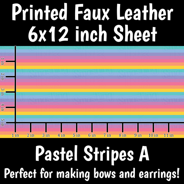 Pastel Stripes A - Faux Leather Sheet (SHIPS IN 3 BUS DAYS)