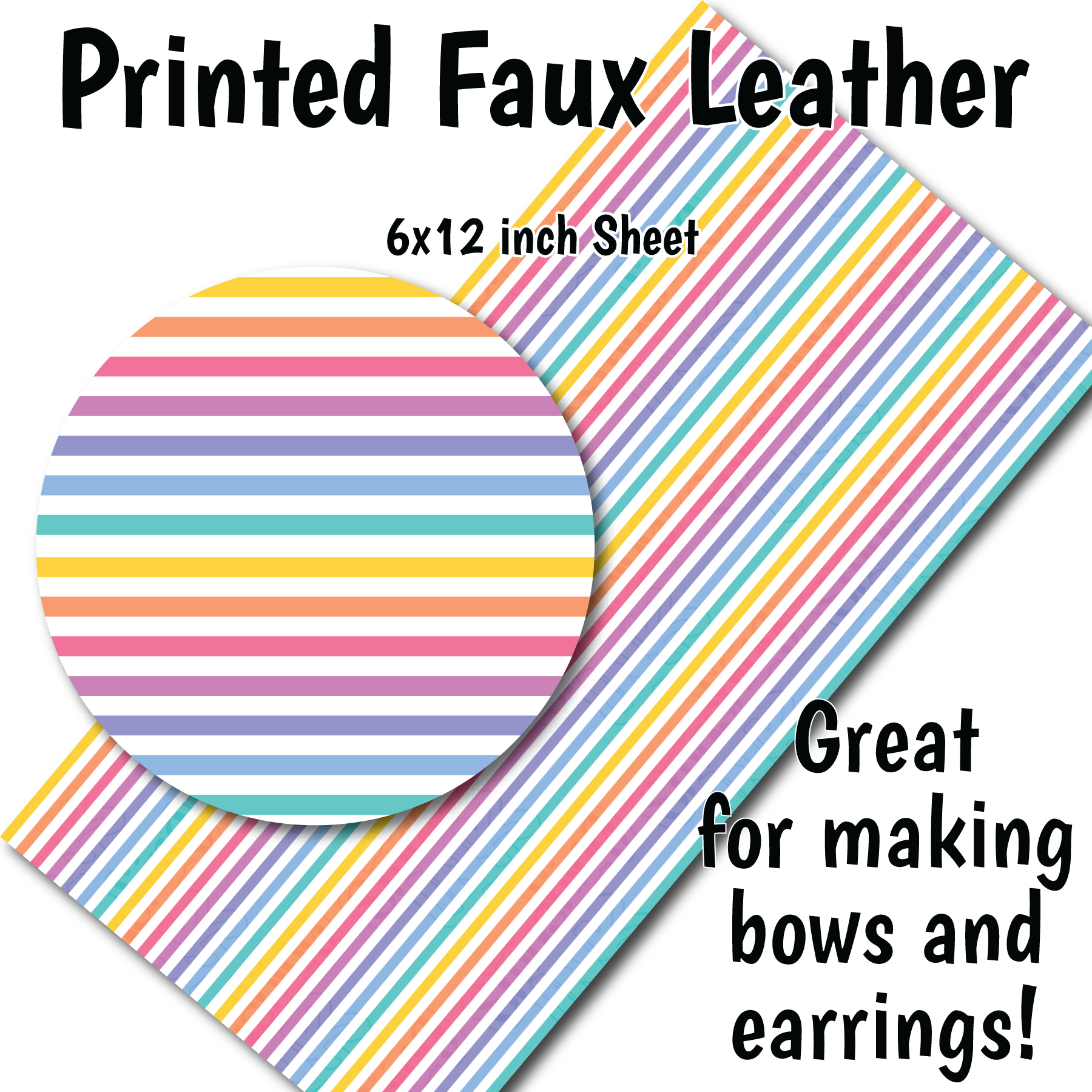 Pastel Stripes C - Faux Leather Sheet (SHIPS IN 3 BUS DAYS)