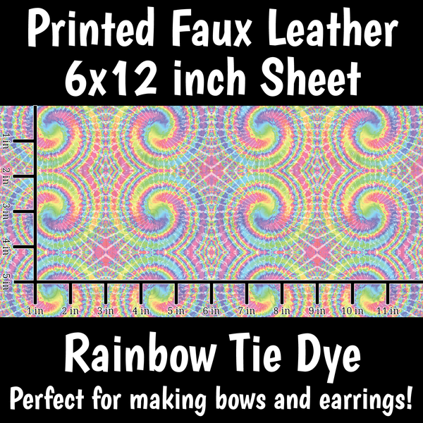 Rainbow Tie Dye - Faux Leather Sheet (SHIPS IN 3 BUS DAYS)