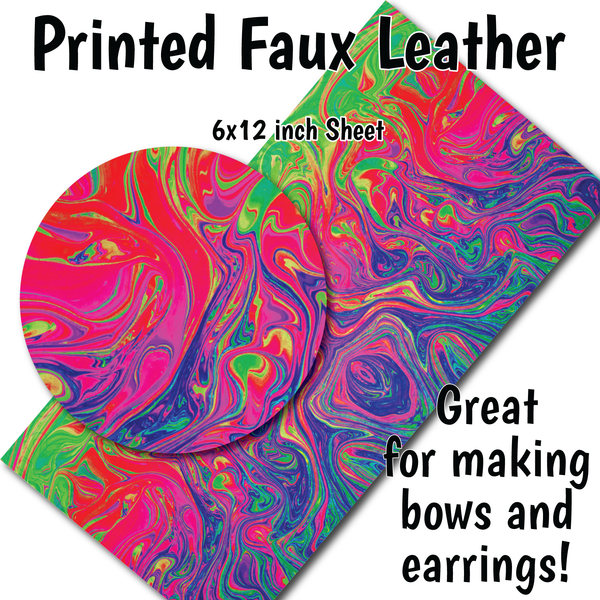 Colorful Swirls - Faux Leather Sheet (SHIPS IN 3 BUS DAYS)