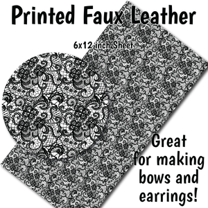 Black White Lace A - Faux Leather Sheet (SHIPS IN 3 BUS DAYS)