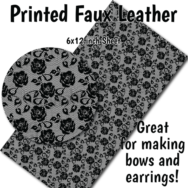 Black White Lace D - Faux Leather Sheet (SHIPS IN 3 BUS DAYS)