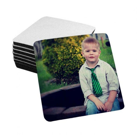 "White Sublimation Fabric Top Coasters - 4"" x 4"" - 1/4"" Thick - Black Rubber Back"