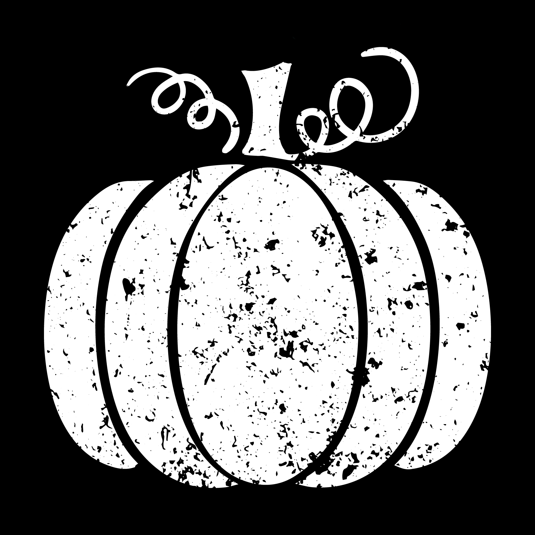 Distressed Pumpkin - White Ink - Screen Printed Transfer