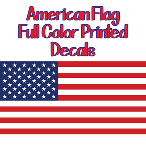 Printed American Flags - Full Color Adhesive Decals Custom