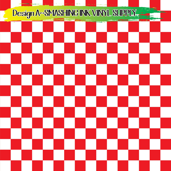 Red White Checker - Pattern Vinyl (SHIPS IN 3 BUS DAYS)