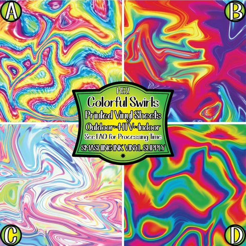 Colorful Swirled - Patterned Vinyl Done Printed
