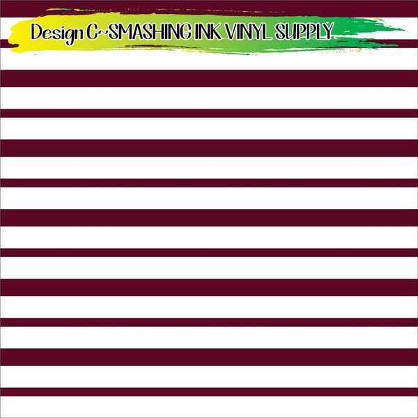 Maroon White Striped - Pattern Vinyl (SHIPS IN 3 BUS DAYS)