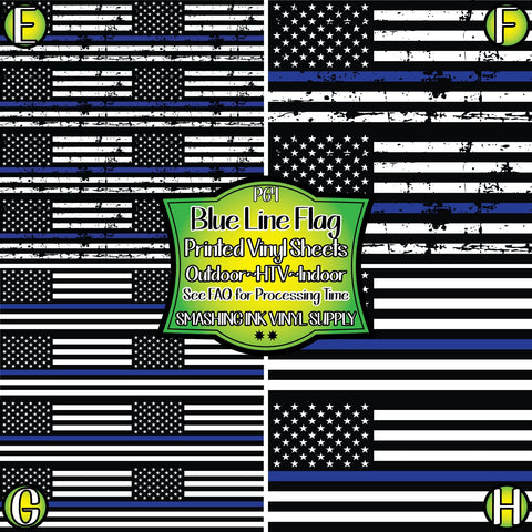 Blue Line Flag - Pattern Vinyl (SHIPS IN 3 BUS DAYS)